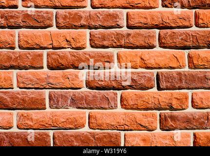 Arrière-plan de mur de brique rouge texture pattern. Super pour le graffiti inscriptions. Banque D'Images