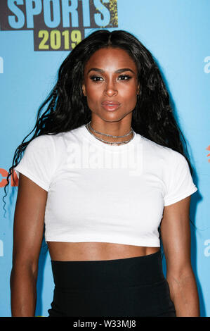 Santa Monica, Californie, USA. 11 juillet 2019. Ciara arrive au Nickelodeon Kids' Choice Awards 2019 Sport au Barker Hangar sur 11 Juillet 2019 à Santa Monica, en Californie. Photo : imageSPACE/MediaPunch MediaPunch Crédit : Inc/Alamy Live News Banque D'Images