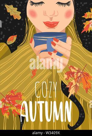 Ambiance de l'automne. Télévision mignon vector illustration de femme avec une tasse de thé et les feuilles qui tombent.
