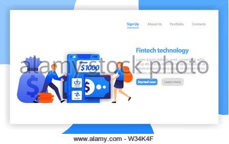 La technologie financière ou classement fintech. mobile d'économiser de l'argent. Dépôt et transfert avec smartphone. femme emprunter de l'argent avec des apps. vecteur fintech télévision illustra Banque D'Images