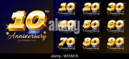 Série de numéros d'or anniversaire, logo, emblème, modèle de conception pour poster, bannière, vector illustration isolé. Banque D'Images