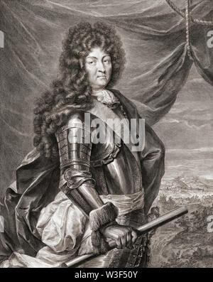 Louis XIV, 1638 - 1715, alias Louis le Grand ou le Roi Soleil. Roi de France. D'après une peinture de Jean de La Haye. Banque D'Images
