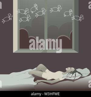 La jeune fille au lit la nuit souffre d'insomnie, dit le mouton. Personnage dans un style plat. Banque D'Images