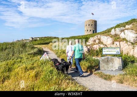 Un couple d'âge moyen promènent leurs chiens sur le chemin côtier à côté de la Tour No 5 échappatoire L'Ancresse (Nid de l'Herbe, Vale), Guernsey, Channel Islands UK Banque D'Images