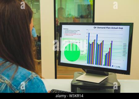 Close up vue arrière d'un young businesswoman looking at un écran tout en travaillant sur un ordinateur de bureau à son bureau au bureau. Hôtel moderne et confortable Banque D'Images