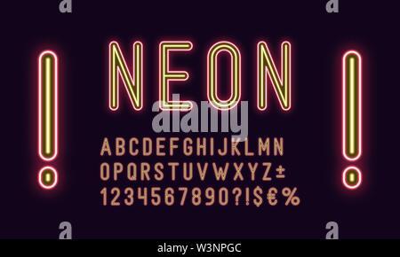 Alphabet arrondie au néon rouge, couleur jaune. Neon police vectorielle, ensemble de lettres, chiffres lumineux duotone, service et différents signes, symboles. Ty vecteur Banque D'Images
