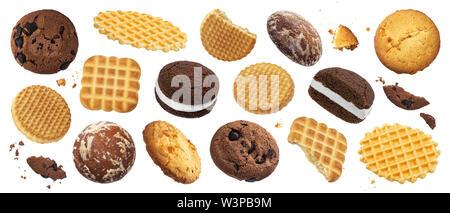 Collection de divers gâteaux, biscuits, craquelins, des gaufres isolé sur fond blanc Banque D'Images