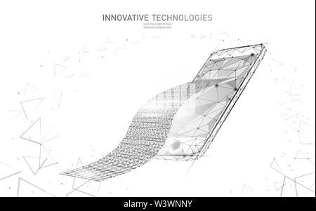 Le projet de loi numérique 3D web voyage concept. Point polygonal en ligne Paiement en ligne de billets. La technologie électronique bannière budget financier Banque D'Images