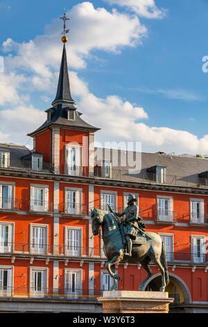 Statue de Felipe III sur la Plaza Mayor, Madrid, Espagne Banque D'Images
