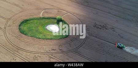 """Petersdorf, Allemagne. 18 juillet, 2019. Une moissonneuse-batteuse de la Markus Grund récoltes agricoles Blé d'hiver sur un champ de céréales dans le district 48 à un soi-disant """"oll', un petit trou d'eau entouré de prairies (photographie aérienne avec un bourdon). Cette ölle «' souvent émergé à la suite de périodes glaciaires dans la partie nord-est de l'Allemagne. Comme biotopes, ils forment des îles d'une grande valeur écologique dans les zones agricoles fortement utilisée. Crédit: Patrick Pleul/dpa-Zentralbild/ZB/dpa/Alamy Live News Banque D'Images"""