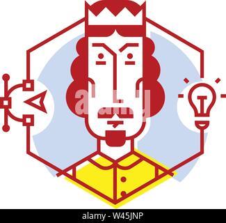 Illustration d'une icône designer dans un style plat. Icône vecteur isolé sur fond blanc. Image de concepteur de site web, site web prêt pour et l'impression. L Banque D'Images