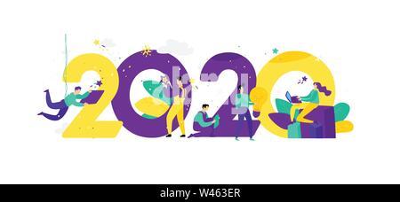 L'illustration pour la nouvelle année 2020. Vecteur. Les gens travaillent autour des chiffres. Hommes d'célébrer Noël. Employés du bureau vont célébrat Banque D'Images