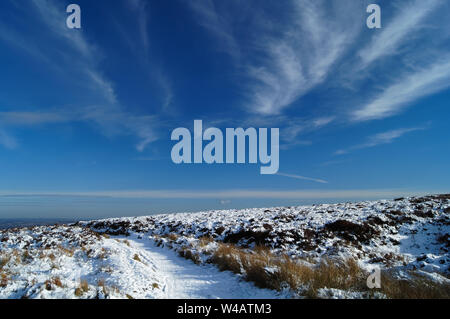 UK,Derbyshire/South Yorkshire, Peak District,Totley,Moss Road à Wimble Holme colline en direction de Totley Banque D'Images