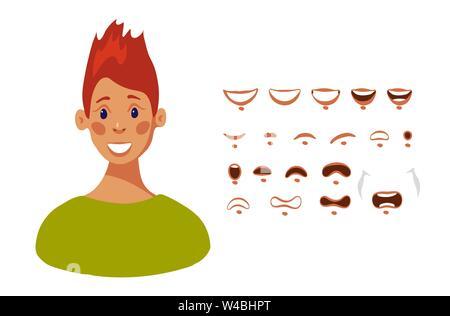 La tête d'une jeune fille designer personnages avec différentes émotions et la synchronisation labiale. Jeu de bouche en personnage féminin modèle plat, vector illustration isolé sur fond blanc. Banque D'Images