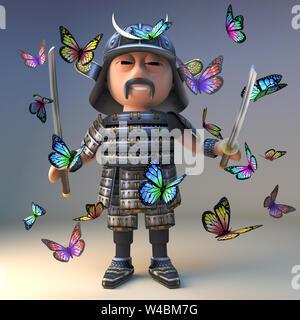 Cartoon Samurai Warrior du Japon avec deux sabres katana se tient au milieu d'un essaim de papillons, illustration 3D render Banque D'Images