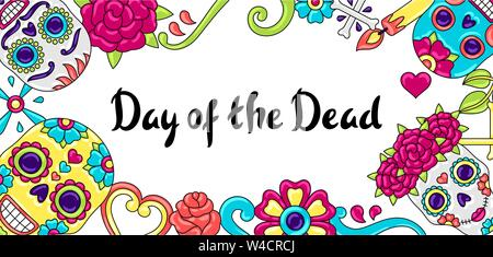 Le Jour des Morts Les carte d'invitation. Ornement floral avec des crânes de sucre. Banque D'Images