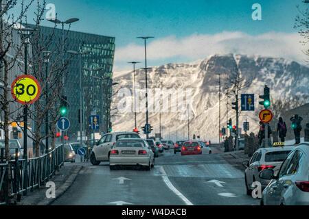 L'hiver à Reykjavik, Islande Banque D'Images