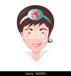 Asian girl's head dans le style. La jeune femme a un bandeau sur la tête avec l'image d'une fleur nationale mugunhwa.