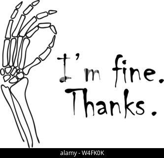 Silhouette d'un geste de la main de squelette ok signe. La je vais bien merci signe. Vector illustration. Banque D'Images
