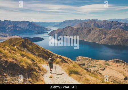 Homme randonnée au pic de Roys, Lake Wanaka, Nouvelle-Zélande Banque D'Images