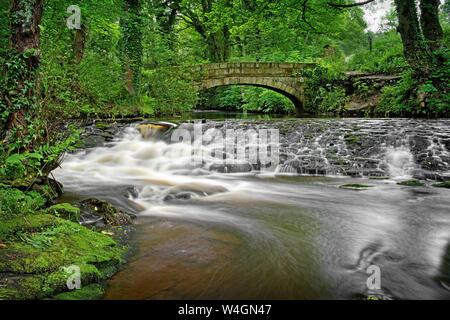 UK,South Yorkshire,Sheffield,supérieure Coppice Weir & Pont à cheval Rivelin Banque D'Images