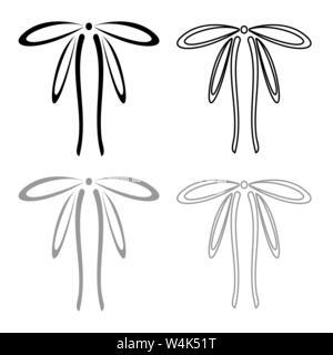Rubans d'emballage avec Bow concept ornement ruban décoratif cadeau bow curl contour l'icône actuelle couleur gris noir style télévision illustration vectorielle Banque D'Images