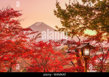 Mt. Fuji, le Japon vu du lac Yamanaka avec feuillage d'automne. Banque D'Images