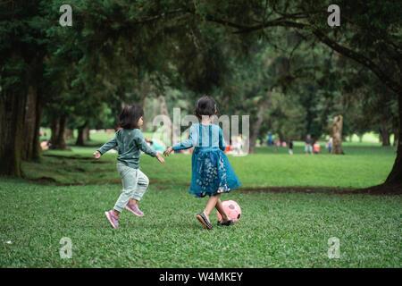 Les filles jouent ensemble dans le parc Banque D'Images