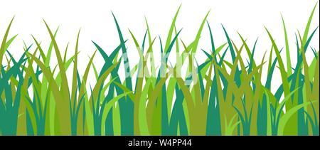 Green blue grass touffe de tiges, et sans motif isolé sur fond blanc. Illustration Vecteur de cartoon paysage décoration Banque D'Images