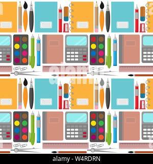 Vector pattern transparente avec différents articles de papeterie: cahiers, stylos, crayons, règles, les peintures, les pinceaux et les clips Banque D'Images