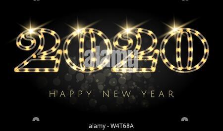 Bonne Année 2020 Les numéros de l'ampoule avec effets lumineux sur fond noir. Vector Illustration. Banque D'Images