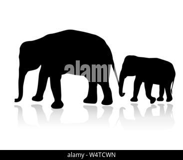 Famille éléphant silhouette vecteur isolé sur fond blanc Banque D'Images