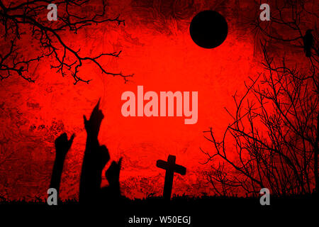 Halloween party illustration créative avec silhouette noire de zombies les mains sur fond orange foncé sur le cimetière. Copy space Banque D'Images