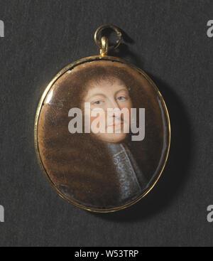 Jean Petitot, Louis XIV (1638-1715), Roi de France, peinture, Miniature, émail, hauteur, 3,3 cm (1,2 po), largeur, 2,6 cm (1 pouces) Banque D'Images