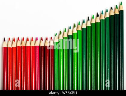 Crayons de couleur rouge et vert représentant des entreprises graphique d'augmenter les profits Banque D'Images