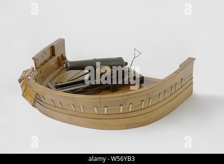Modèle d'un 80-Pounder Pistolet Pivot Shell sur un pont de navire, modèle d'une bombe 80 livres cannon à tour de traîneau, peint en noir, sur un groundboard que représente le pont arrière d'un bateau radar. Le canon est en bois 55 cm de long, a un calibre de 44 mm et raccords pour une visière à la trompette et à l'enregistrement, zundgat avec élévation finale, raisin comme un anneau de rupture. Le chariot supérieur, qui est un peu plus étroit vers l'avant, dispose de deux joues avec trois étapes, les parties supérieures sont en laiton massif. Les joues sont reliés par un veau en pente, une barre transversale au milieu et la cendre,