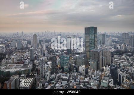 Les toits de Tokyo avec les immeubles de grande hauteur de Shibuya au loin. Banque D'Images