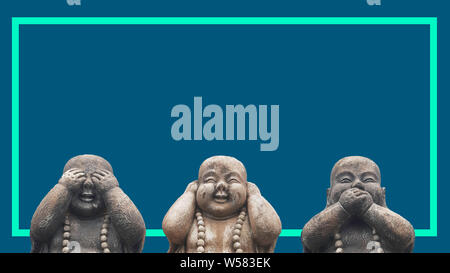 Concept de conception d'un bandeau ou d'une campagne de publicité pour l'impression. 3 têtes de statues de Bouddha dans une pose de 3 sage mokeys: voir aucun mal, ne rien entendre, ne rien dire, pas de Banque D'Images