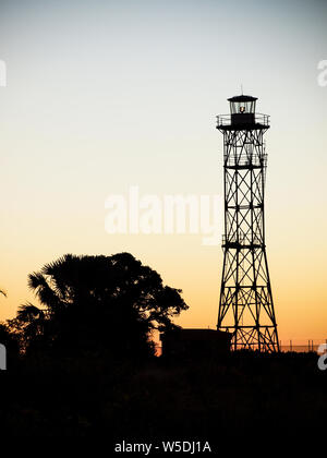 Gantheaume Point Lighthouse dans Broome Australie occidentale pendant le coucher du soleil. Banque D'Images