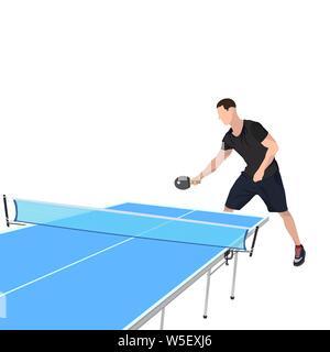 Joueur de tennis de table avec racket, ball et tableau bleu pour jeu de ping-pong, vector illustration isolé sur fond blanc. Jeune homme de la table de dix Banque D'Images
