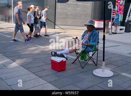 Montréal, Québec, Canada. Jul 2019. Événements, spectacles, artistes, et l'amusement et de l'alimentation, au Festival Juste pour rire. Rédaction d'illustration. Banque D'Images