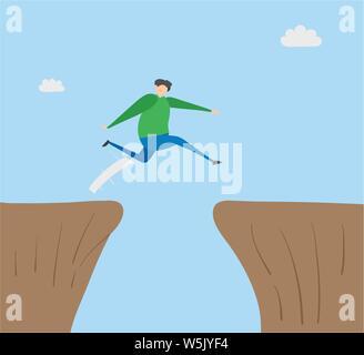 L'homme saute au-dessus de l'abîme, vector illustration dessinée à la main. Télévision couleur style. Banque D'Images