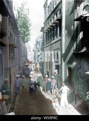 Les gens ont été forcés de ramper à travers des rues Punjab Inde Asie 1919 Banque D'Images