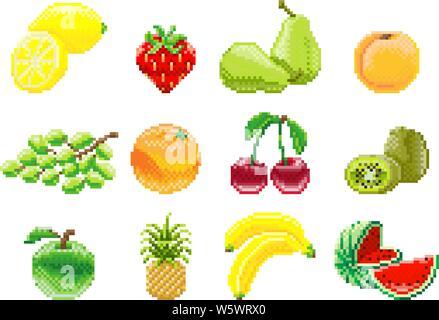Bouquet De Raisins Pixel Art Jeu Video 8 Bits Icone Fruits Image Vectorielle Stock Alamy