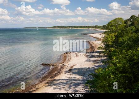 Vue sur Munkerup beach à l'Est, vers le sud, Dronningmolle Munkerup, Région Hovedstaden, la Nouvelle-Zélande, le Danemark, Europe