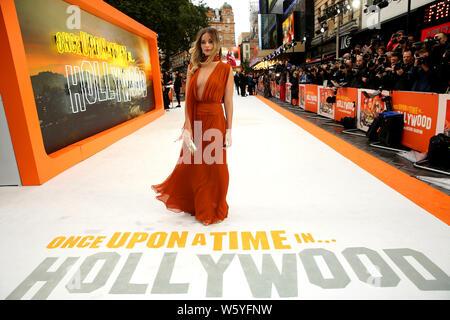 Margot Robbie participant à la IL ÉTAIT UNE FOIS... Dans Hollywood UK premiere à Leicester Square, Londres.