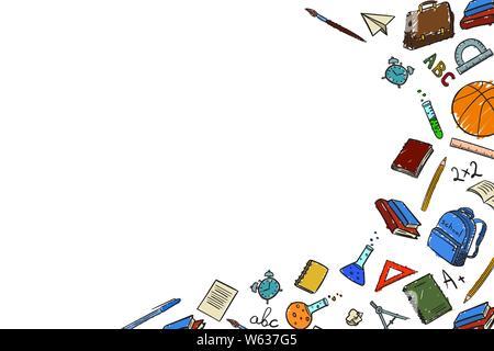 Châssis avec place pour le texte avec des éléments de l'école sur le retour de l'école le premier de Septembre dans la main de style doodle-dessin en couleur. Vector illu Banque D'Images