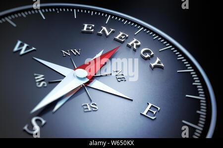 Boussole avec aiguille rouge sombre pointant sur le mot énergie - 3D illustration Banque D'Images