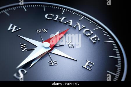 Boussole avec aiguille rouge sombre pointant sur le mot changement, 3D illustration Banque D'Images