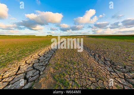 Arides et des terres fissurés en raison du changement climatique et le réchauffement climatique - une catastrophe écologique Banque D'Images
